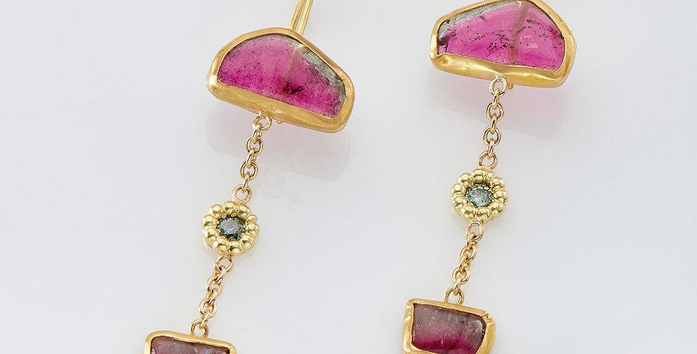 Three color Tourmaline stones