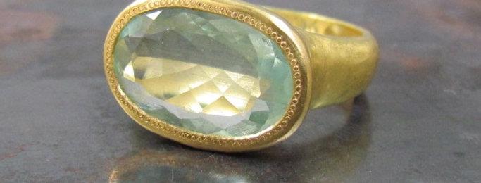 Oval Aquamarine Ring 18K brush gold