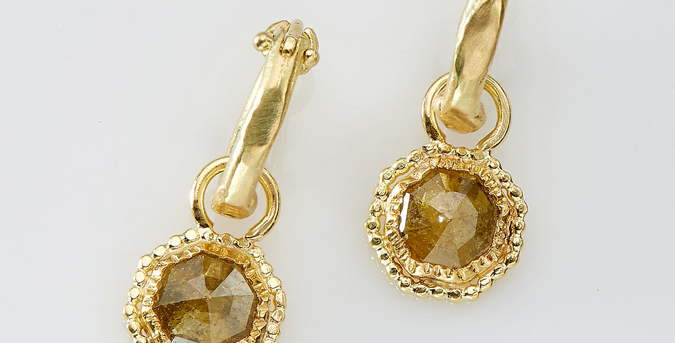 Gold Hoops with Octagon shape rough Diamonds