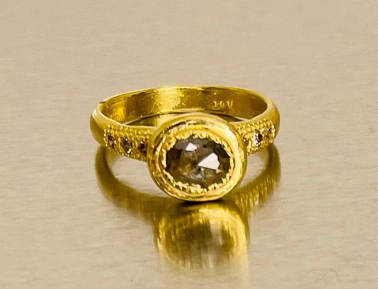 Brown rose cut diamond ring