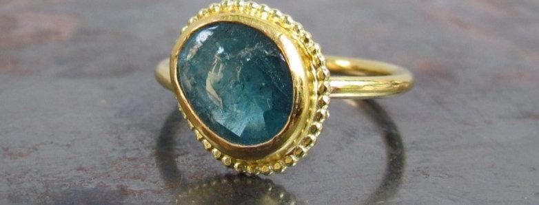 Blue oval Tourmaline ring