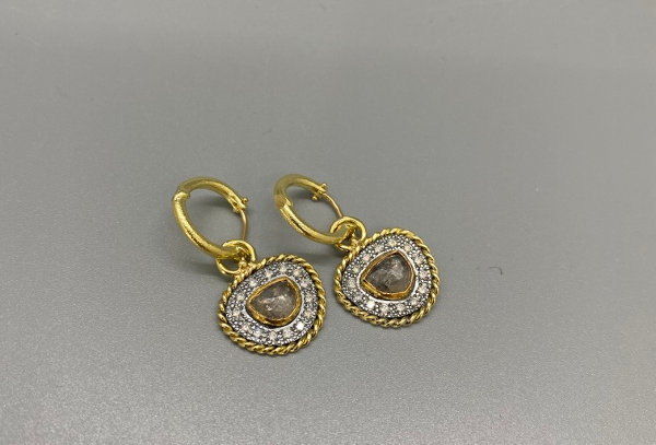 Royal Vintage Rose cut raw Diamonds drops on hoops