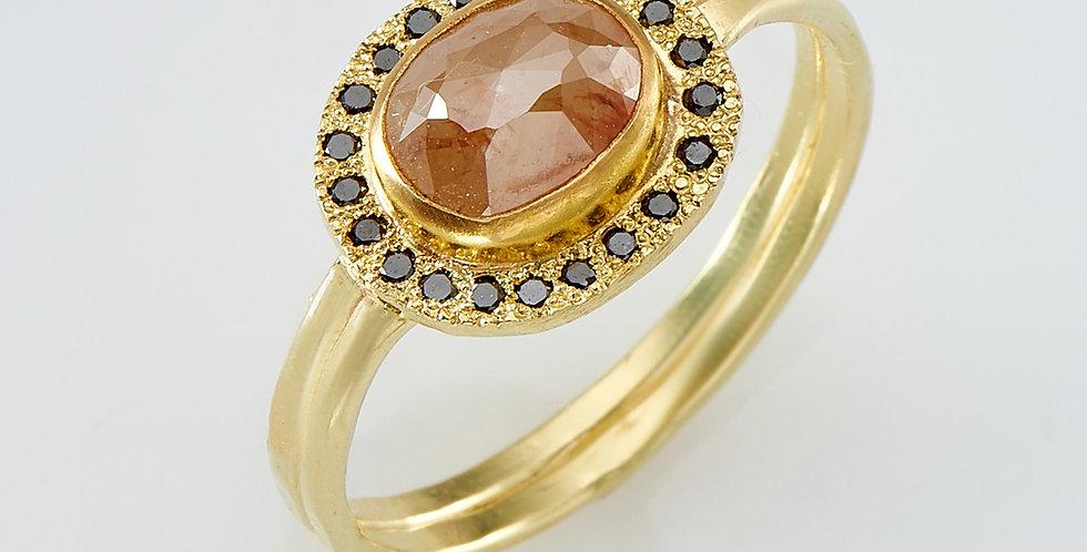 copy of Rectangular Brown rough diamond rustic ring