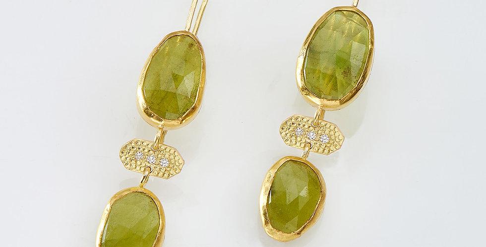 Amorphous Green Tourmaline  drops earrings with diamonds