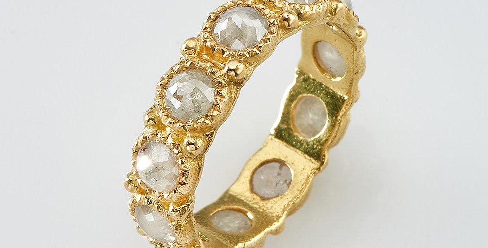 Rose cut White diamonds ring