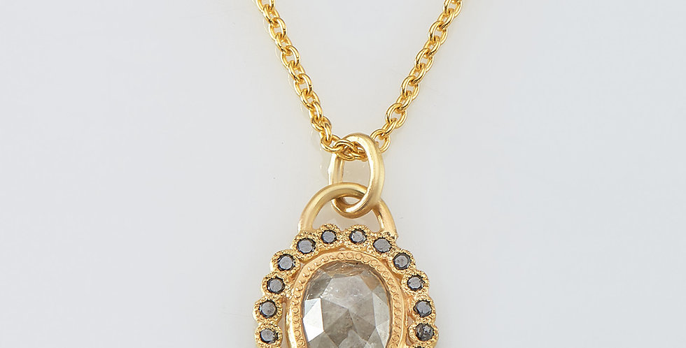 Light grey Oval rose cut diamond with black diamonds