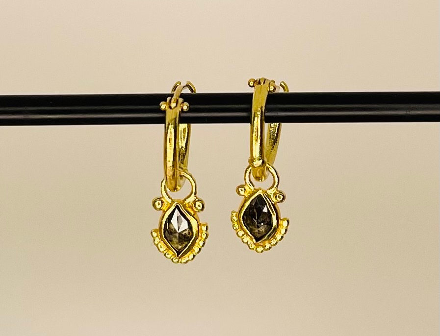 Dark brown Marquize  diamonds on hoops