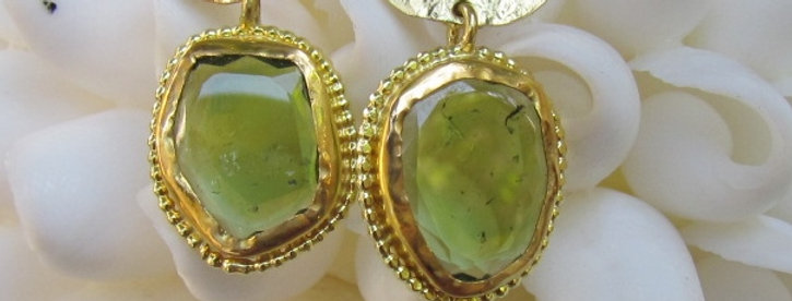 Amorphous Green Tourmaline  drops earrings