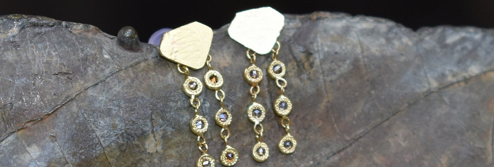 3 Dangling Brown diamonds studs earrings