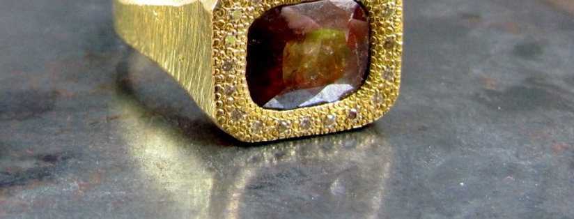 Rectangular Brown rough diamond rustic ring