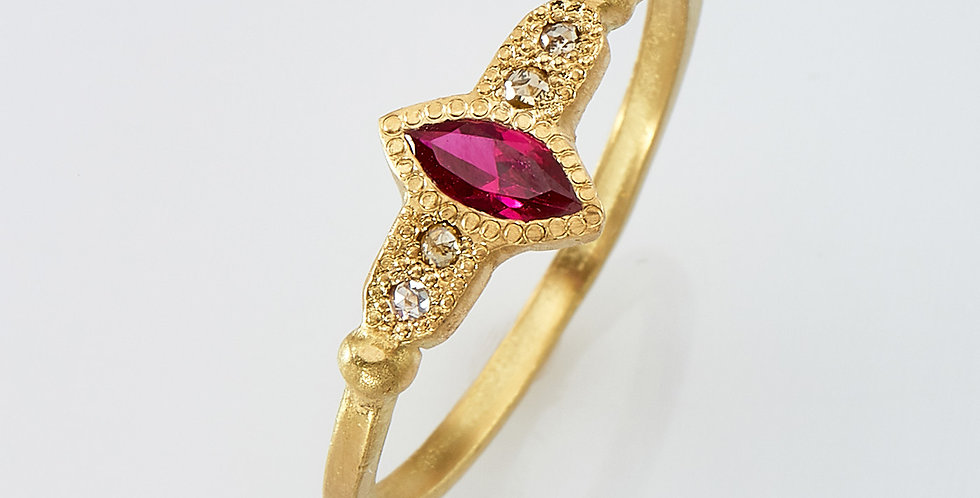 Marquise Ruby with white diamonds ring