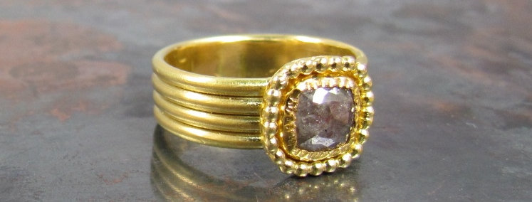 Rose cut Brown diamond with 18k gold vintage ring