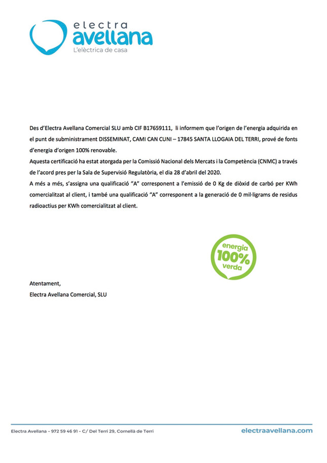 Certificat Energia 100% Verda