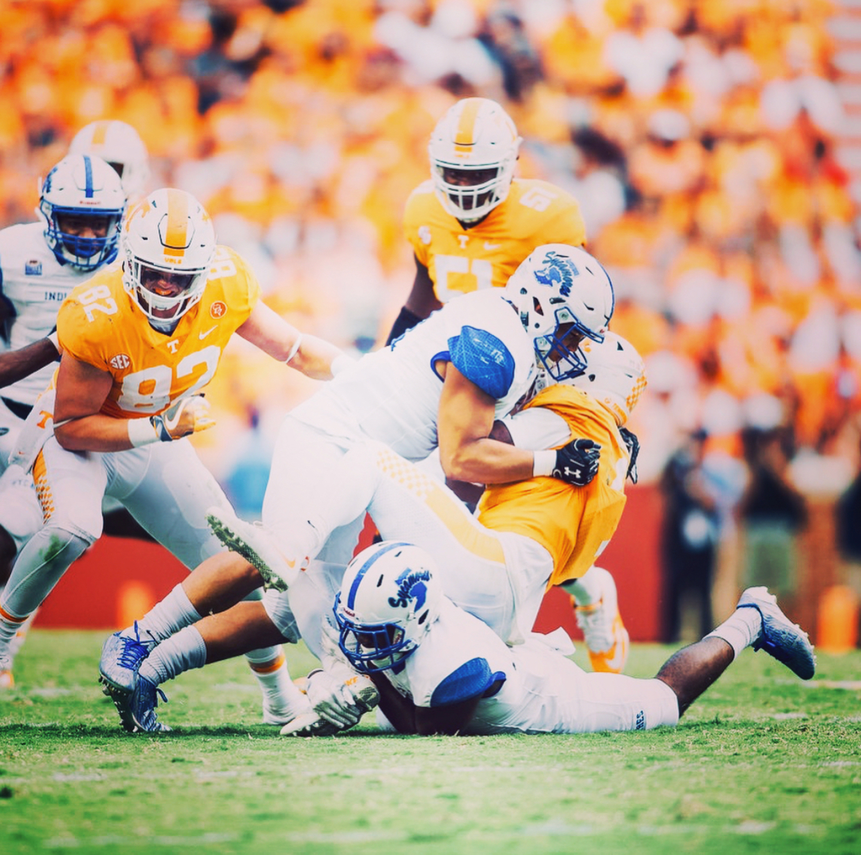 Jackson making a tackle at Tennessee