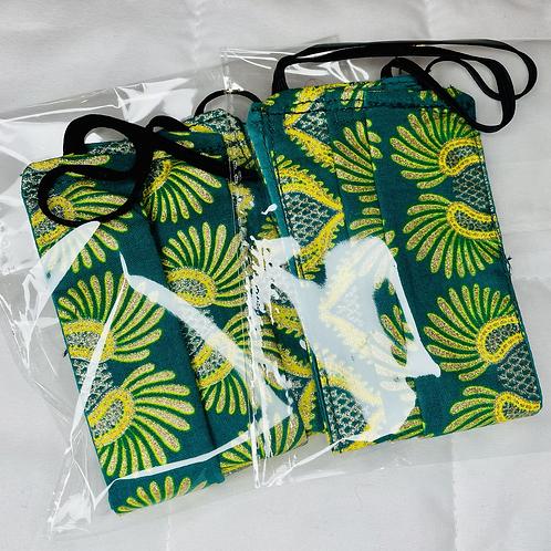 Green African Print Facemask