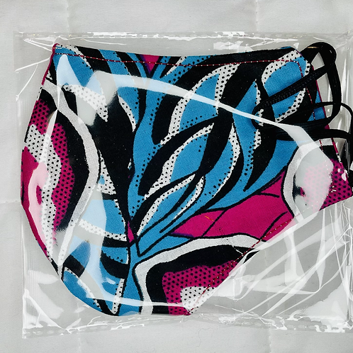 Blue/Pink African Print Facemask