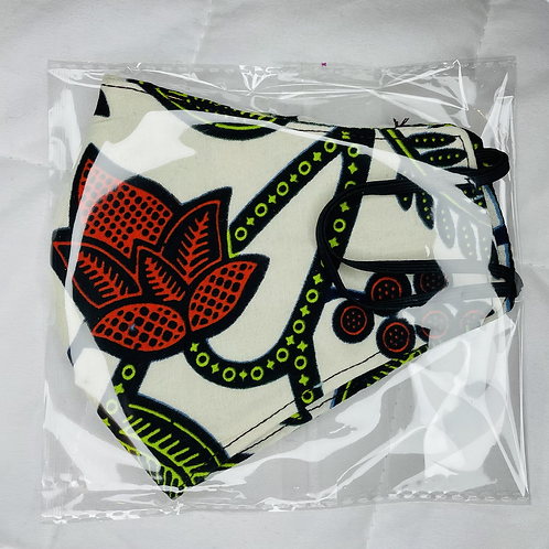 Cream African Print Facemask with Filter