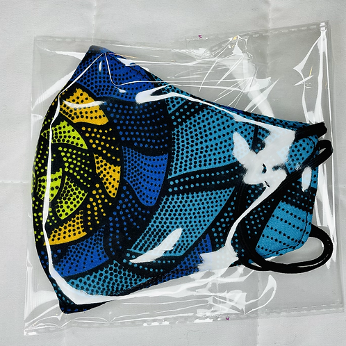 Blue Multi African Print Facemask with Filter