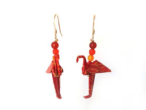 Boucles d'oreilles Flamants Rouges Motifs - G-F. 14 Carats et Pierres Gemmes