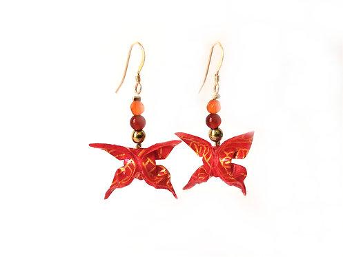 Boucles d'oreilles Papillons Rouges Motifs - G-F. 14 Carats et Pierres Gemmes