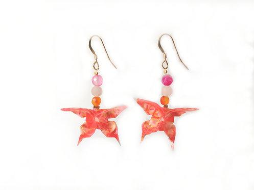 Boucles d'oreilles Papillons Rose Motifs - G-F. 14 Carats et Pierres Gemmes