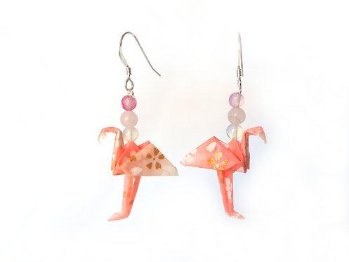 Boucles d'oreilles Flamants Rose Motifs - Argent Sterling et Pierres Gemmes