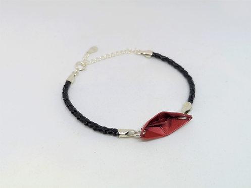 Bracelet Bateau - Cuir et Argent Sterling 925