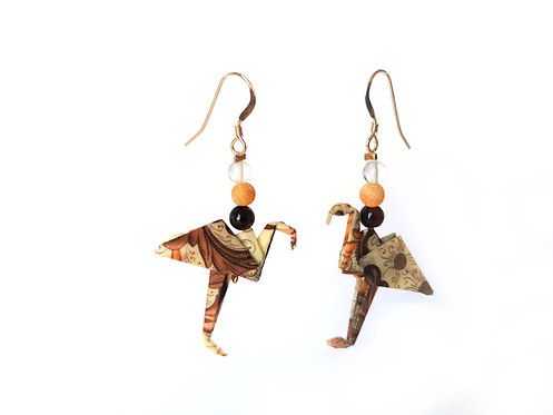 Boucles d'oreilles Flamants Rose - Gold Filled 14 Carats et Pierres Gemmes