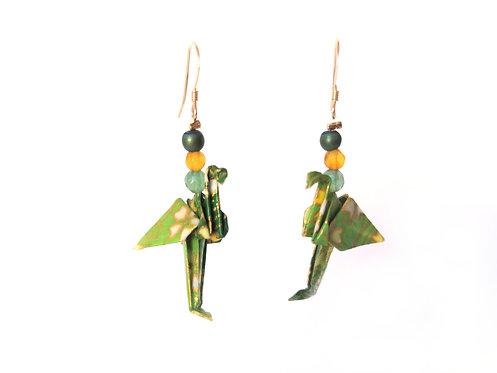 Boucles d'oreilles Flamants Verts Motifs - G-F. 14 Carats et Pierres Gemmes