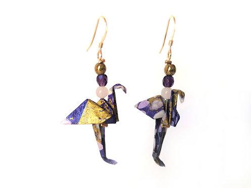 Boucles d'oreilles Flamants Violets Motifs - G-F. 14 Carats et Pierres Gemmes