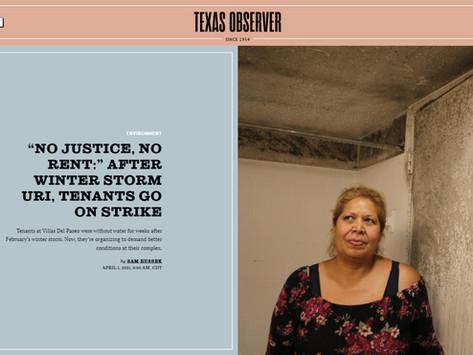 "Texas Observer - ""No Justice, No Rent"" After Winter Storm Uri, Tenants Go on Strike"