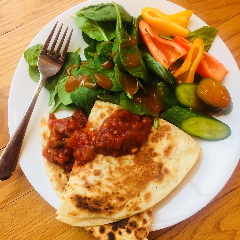 Simple Quesadilla and salad