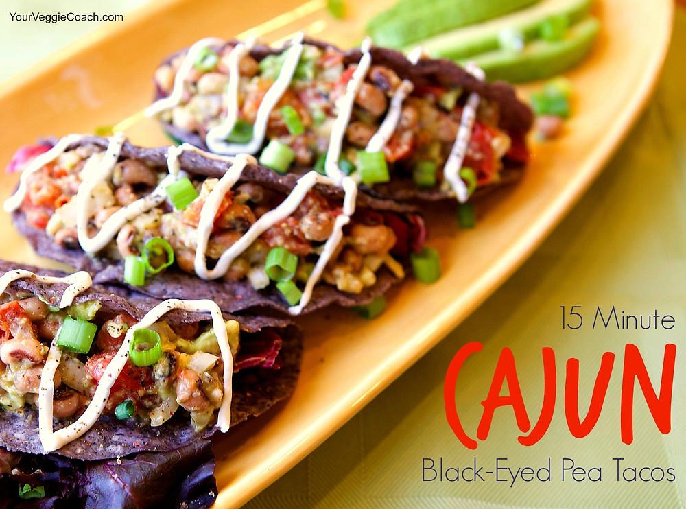 Cajun Black eyed pea tacos
