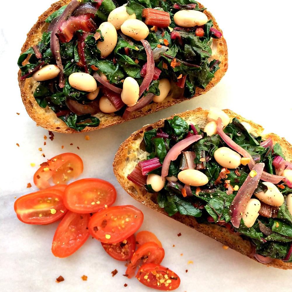 Beans and Greens Bruschetta