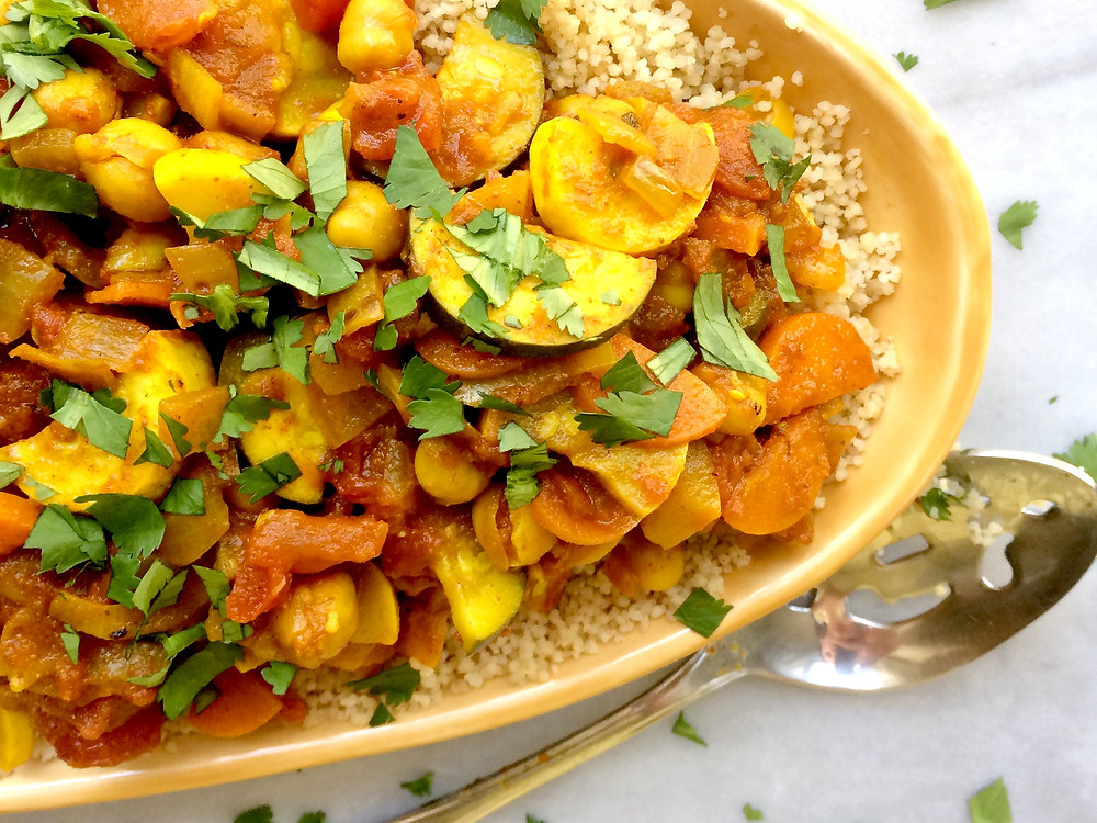 Moroccan Chickpeas & Vegetables over couscous