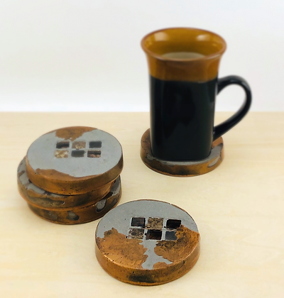 Concrete & Copper-Pigmented Resin Coasters with Tile Inlay