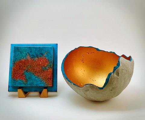 Concrete bowl with Patina No. 15