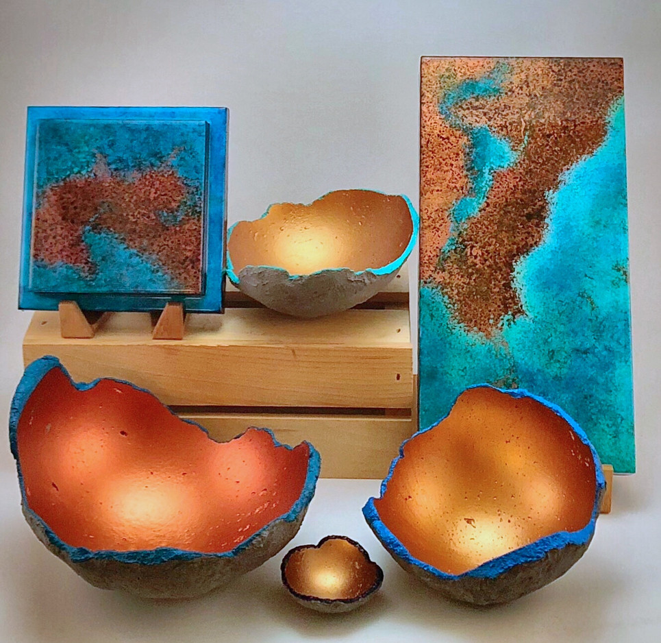 Concrete bowls & copper patina maps
