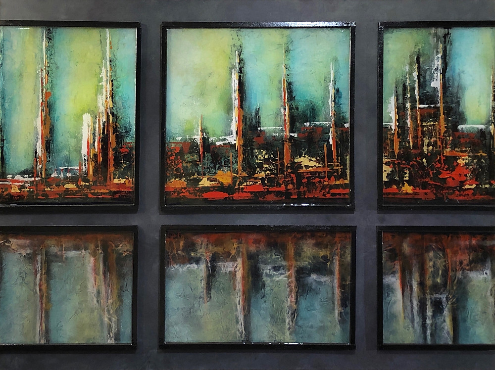 Abstract painting of Gulf Coast oil refinery through windows.
