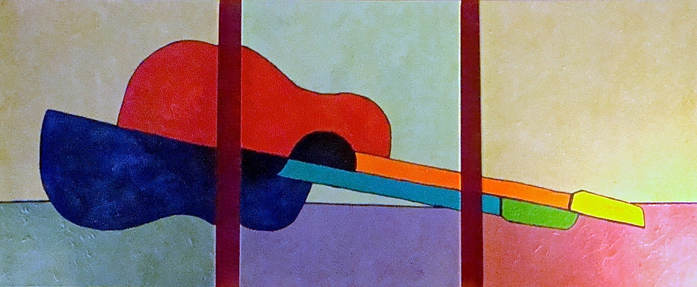 Triptych painting of a guitar that has been halved lengthwise and meant to represent the separation of two bodies bound by music.