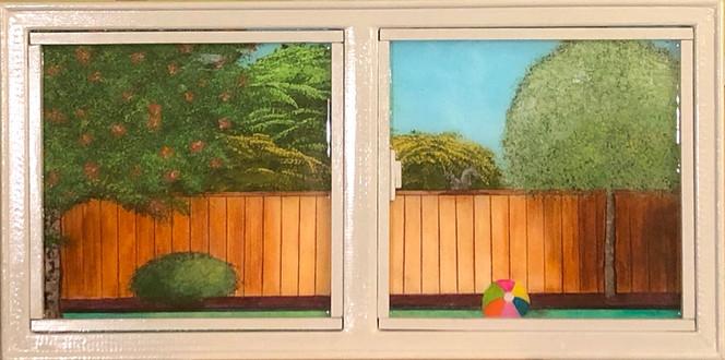 Backyard Window: Ball, Bush, and Squirrel