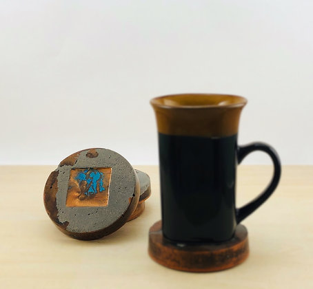 Concrete & Copper-Pigmented Resin Coasters with Resin Inlay