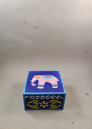 """Wooden Box 4 x 4 """"Elephant Fine Painted PRODUCT CODE - 0326"""