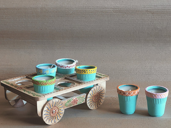 Terracotta Candles Painted w/ Stand PRODUCT CODE - 0331