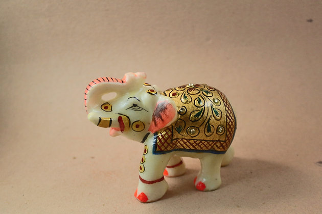 Marble Elephant Figure Painted  PRODUCT CODE - 0171