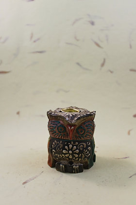 Wooden Owl Incense Holder Painted  PRODUCT CODE - 0211