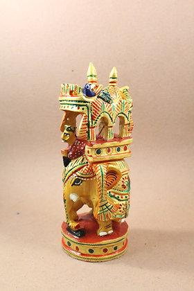 Wooden Ambavadi Elephant Figure Work Painted /Natural Finish PRODUCT CODE - 0298