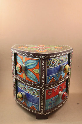 Wooden Four Ceramic Storage Drawer Painted ( Vertical ) PRODUCT CODE - 0231