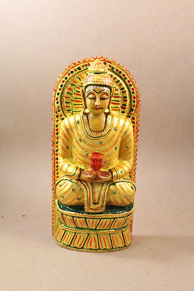 Wooden Lord Buddha Seated Painted PRODUCT CODE - 0299