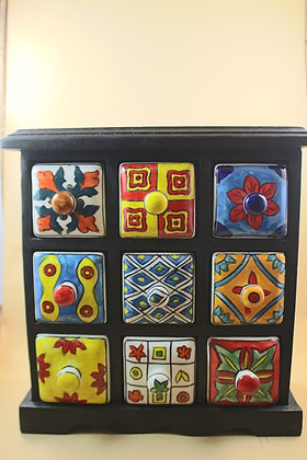 Wooden Storage Nine Ceramic Drawer Painted  PRODUCT CODE - 0225